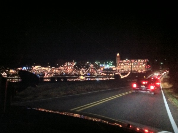 check out all of those lights koziars christmas village