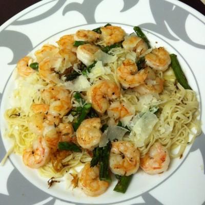 Lemony Shrimp Asparagus Spaghetti