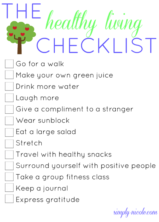 The Healthy Living Checklist Simply Nicole