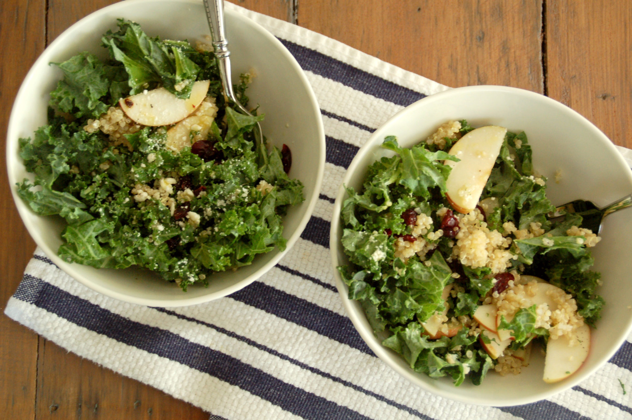 Fall harvest salad with lettuce feta apples quinoa craisins and kale