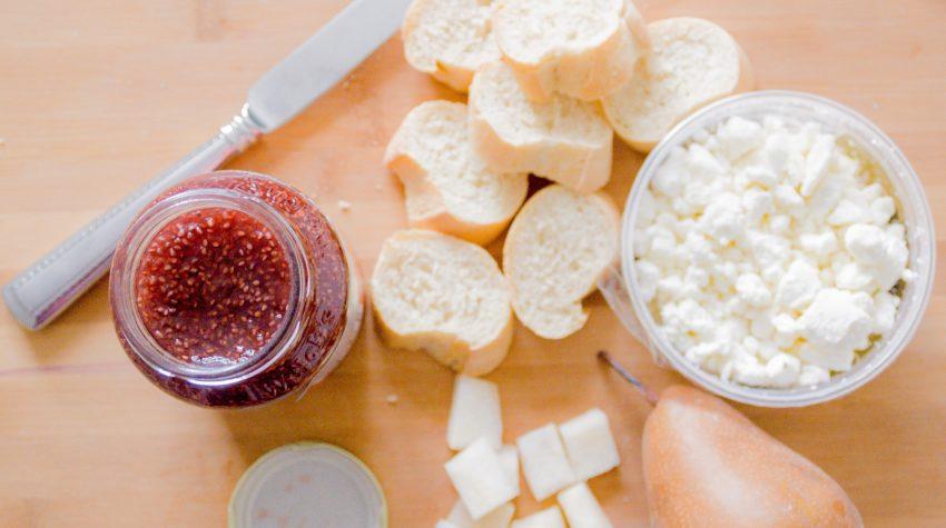 Strawberry Pear Goat Cheese Crostini